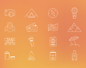 Summer camping and travel outline icons set. Outdoor activity