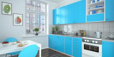 modern kitchen - blue - shot 1