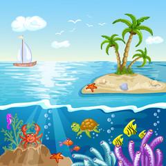 Summer postcard with island