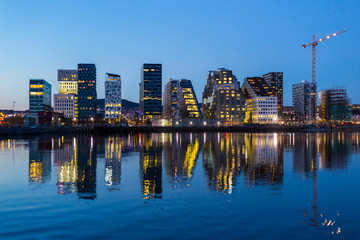 Modern buildings in Oslo at twilight