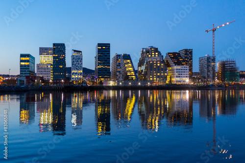 Stampa su Tela Modern buildings in Oslo at twilight