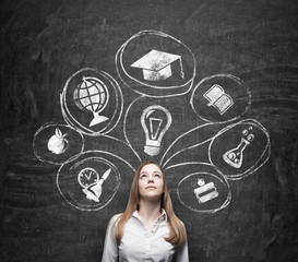 woman is thinking about education