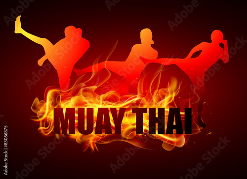 Fototapeta kicking thai boxing postures with muay thai fire typo
