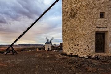 Traditional white windmills in Consuegra, Toledo, Spain.