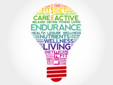ENDURANCE bulb word cloud, health concept poster