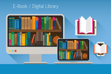 Computer and books, E-Book and Digital Library Concept