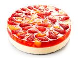 Fototapeta Fruit cheesecake on white background