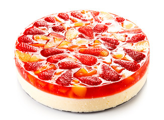 Fruit cheesecake on white background