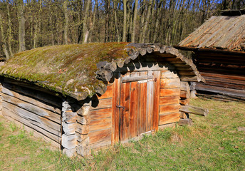 Ukrainian wooden shed in open-air museum Pirogovo, Ukraine