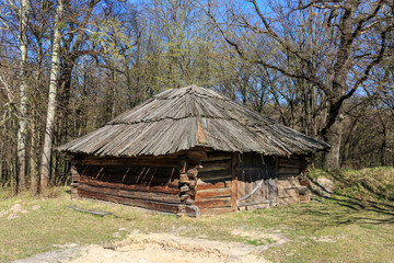 Traditional ukrainian wooden shed