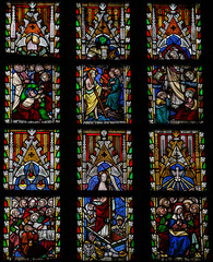 Stained glass window depicting Scenes in the Life of Jesus Chris