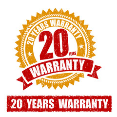20 Years Warranty Rubber Stamp