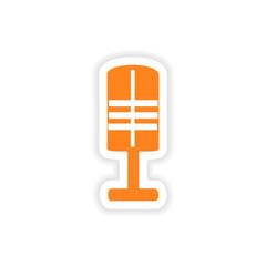 icon sticker realistic design on paper microphone