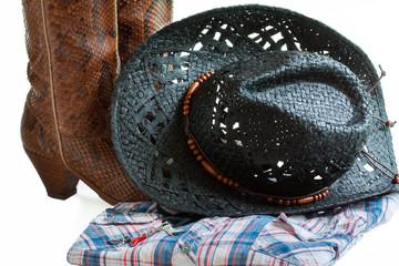 Chapeau, botte, chemise, danse country
