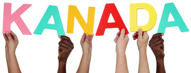 Multikulturell People Gruppe halten das Wort Kanada