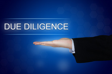 Due diligence button on blue background