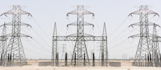 Three power pylons in Kuwait