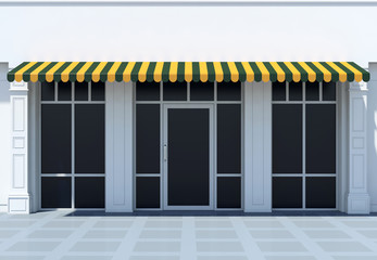 Shopfront in the sun - classic store front with awnings