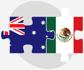 Australia and Mexico Flags in puzzle