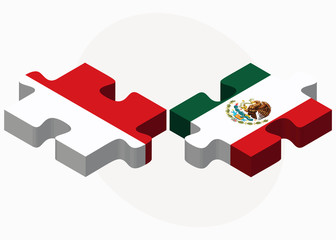 Indonesia and Mexico Flags in puzzle