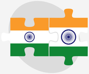 India and India Flags in puzzle