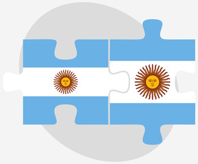 Argentina and Argentina Flags in puzzle