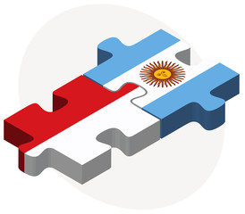 Indonesia and Argentina Flags in puzzle
