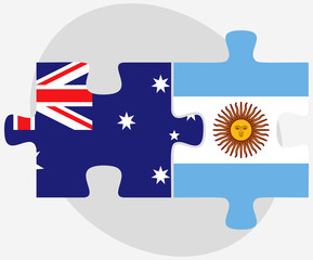 Australia and Argentina Flags in puzzle