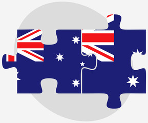 Australia and Australia Flags in puzzle