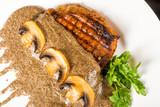 Meat steak with mushrooms