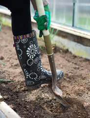 Woman's leg digging soil in greenhouse.