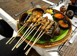 Indonesian satay on the table side grill