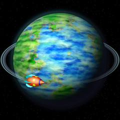 Rocket flying aroung Earth globe