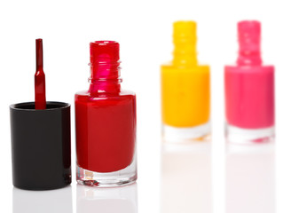 Bottles with a colorful nail polish