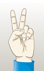 Vector illustration of a hand making the peace sign