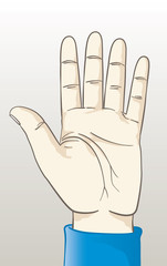 Vector illustration of a hand making the stop sign