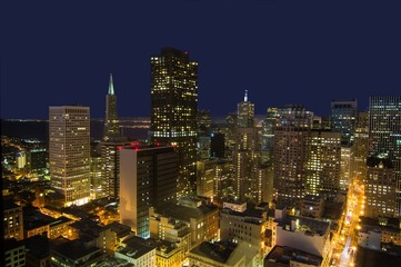 San Francisco City Lights. High Angle View from Union Square Area.