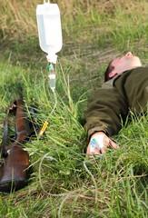 Jagdunfall Jäger mit Infusion
