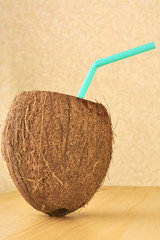 Coconut on the wooden table
