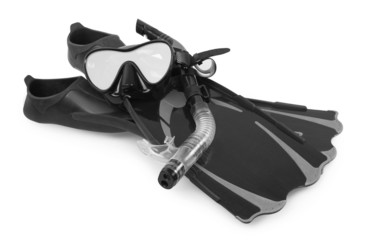 Snorkel, flippers and Mask for Diving