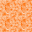 Seamless white and orange floral pattern. Vector illustration.