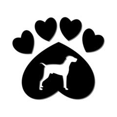 Paw Sign, Dog, Heart - illustration
