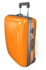 Modern hard case suitcase. Orange with zipper and lock.