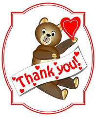 Thank you with brown teddy bear