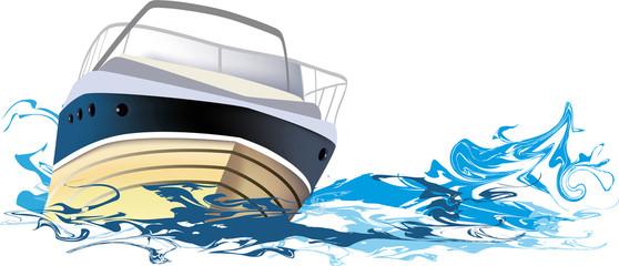 yacht at sea, vector illustration