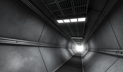 3D rendered metal corridor in rustic monochrome style