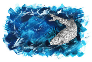 Sea background with herring and copy space