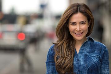 Young hispanic caucasian woman smile happy face portrait
