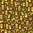 Cotton fabric Tiki Luau Seamless Pattern Background