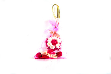 Jasmine garland made from soap in pink bag